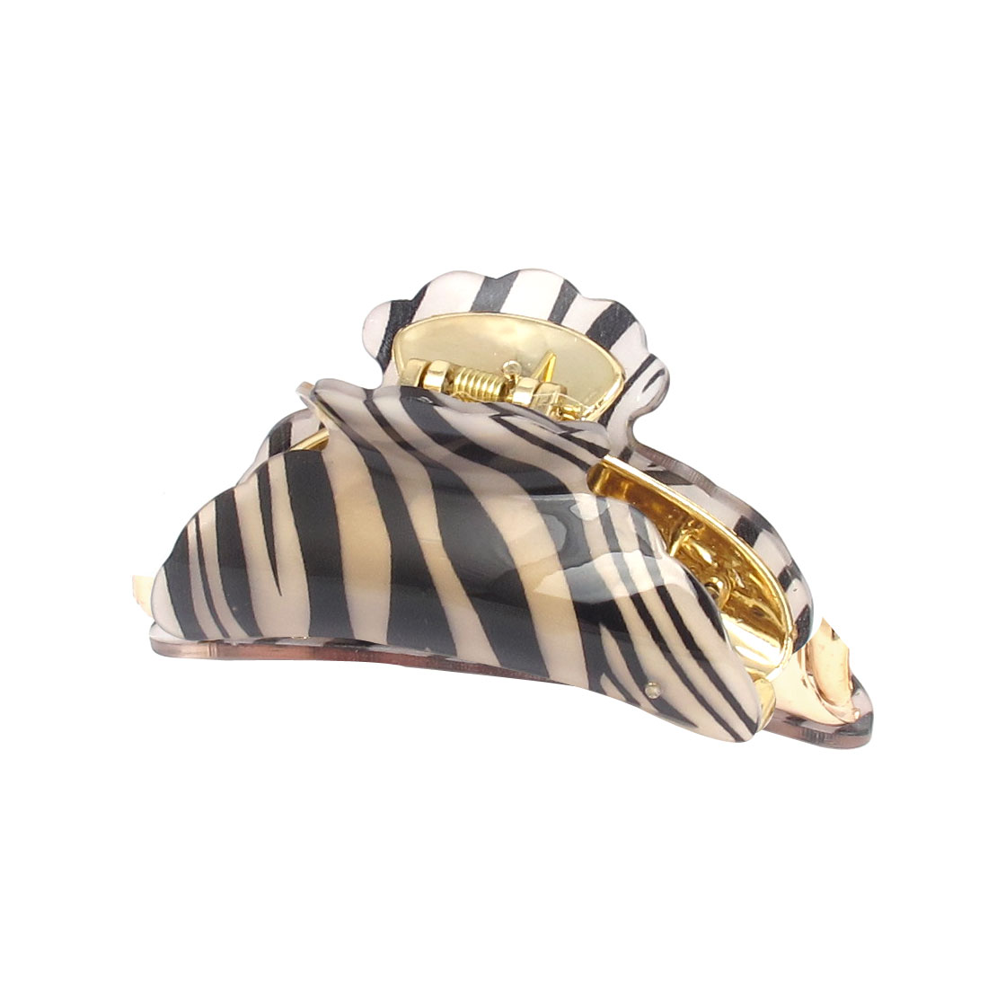 Lady Plastic Tiger Stripe Pattern Hairdressing Hairclip Hair Claw Clip Gold Tone