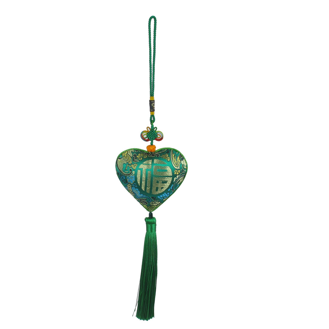 Tassel Detail Heart-shaped Fu Letter Print Chinese Herb Sachet Pendant Car Interior Hanging Ornament Green
