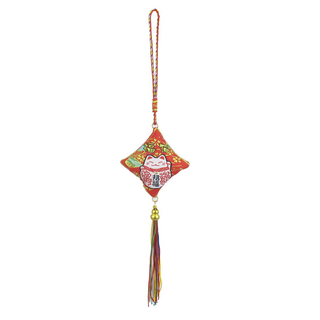 Tassel Decor Fortune Cat Pattern Car Hanging Ornament Sachet Pouch Red