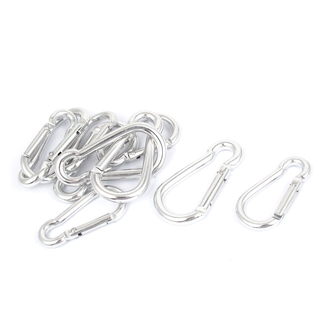 10 Pcs Silver Tone Metal Bottle Gourd Shape Spring Loaded Screw Locking Snap Carabiner Camp Hook Buckle