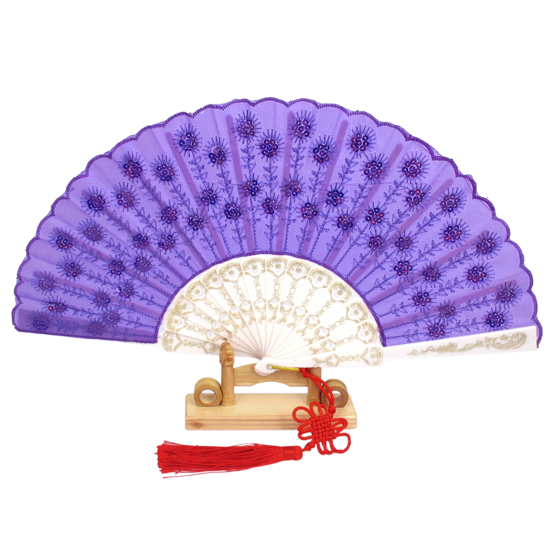 Chinese Knot Sequins Decor Plastic Ribs Folding Hand Fan Purple w Wood Base