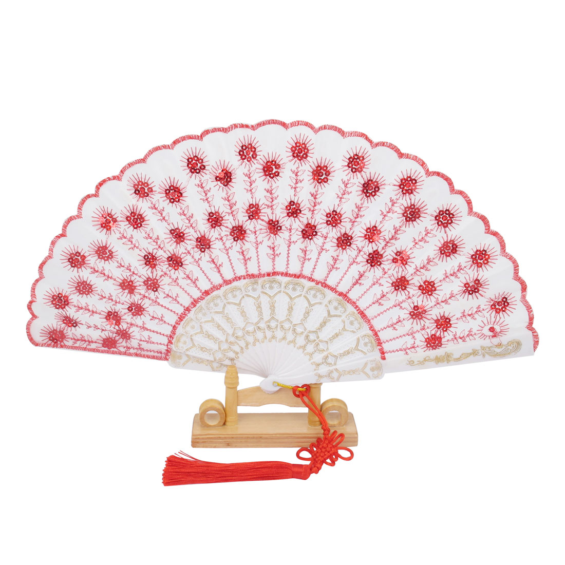 Chinese Knot Sequins Decor Plastic Ribs Folding Hand Fan White Red w Wood Base
