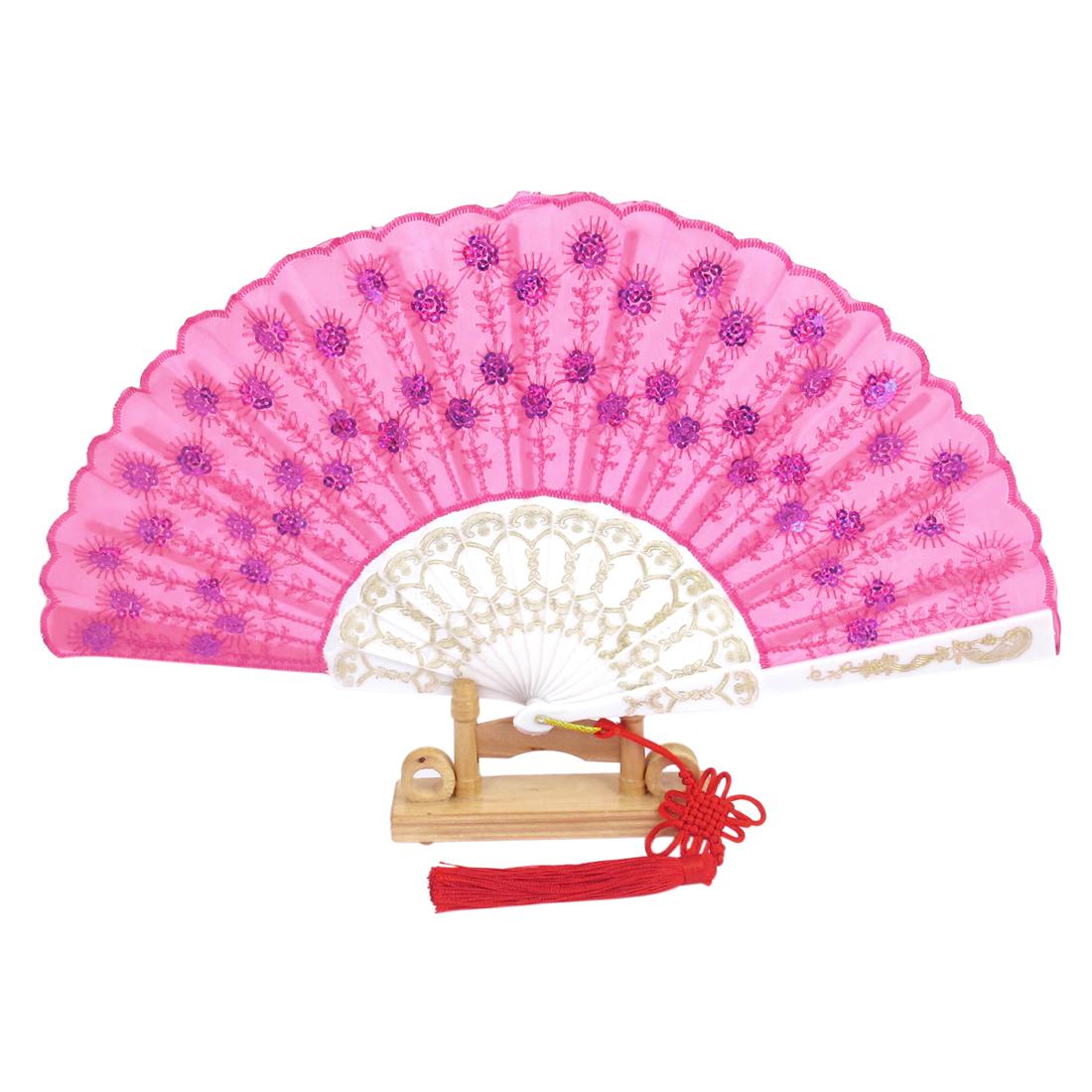 Chinese Knot Sequins Decor Plastic Ribs Folding Hand Fan Fuchsia w Wood Base