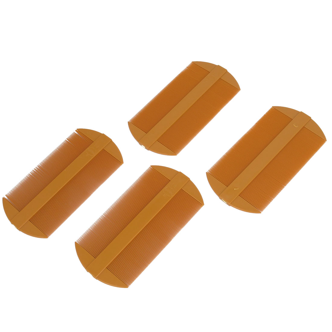 4 Pcs Orange Plastic Straight Tooth Double End Hairdressing Brush Comb for Lady