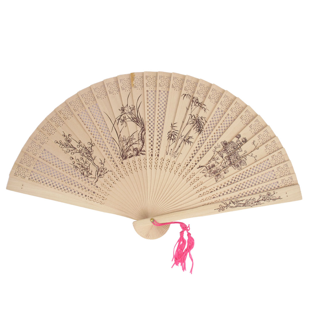 Beige Scented Sandalwood Tradition Wintersweet Bamboo Orchid Chrysanthemum Pattern Hollow Carved Folding Hand Fan