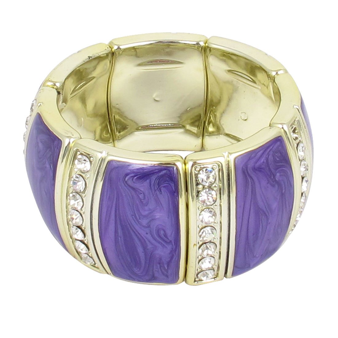 Lady Plastic Rhinestone Decor Elastic Wrist Ornament Bracelet Bangle Purple