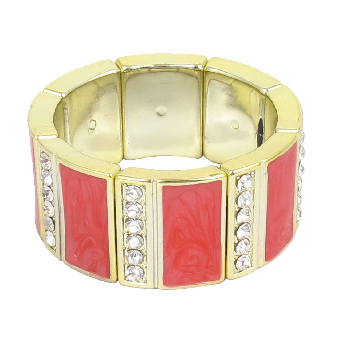 Women Plastic Rhinestone Detailing Stretchy Wrist Decor Bangle Bracelet Red