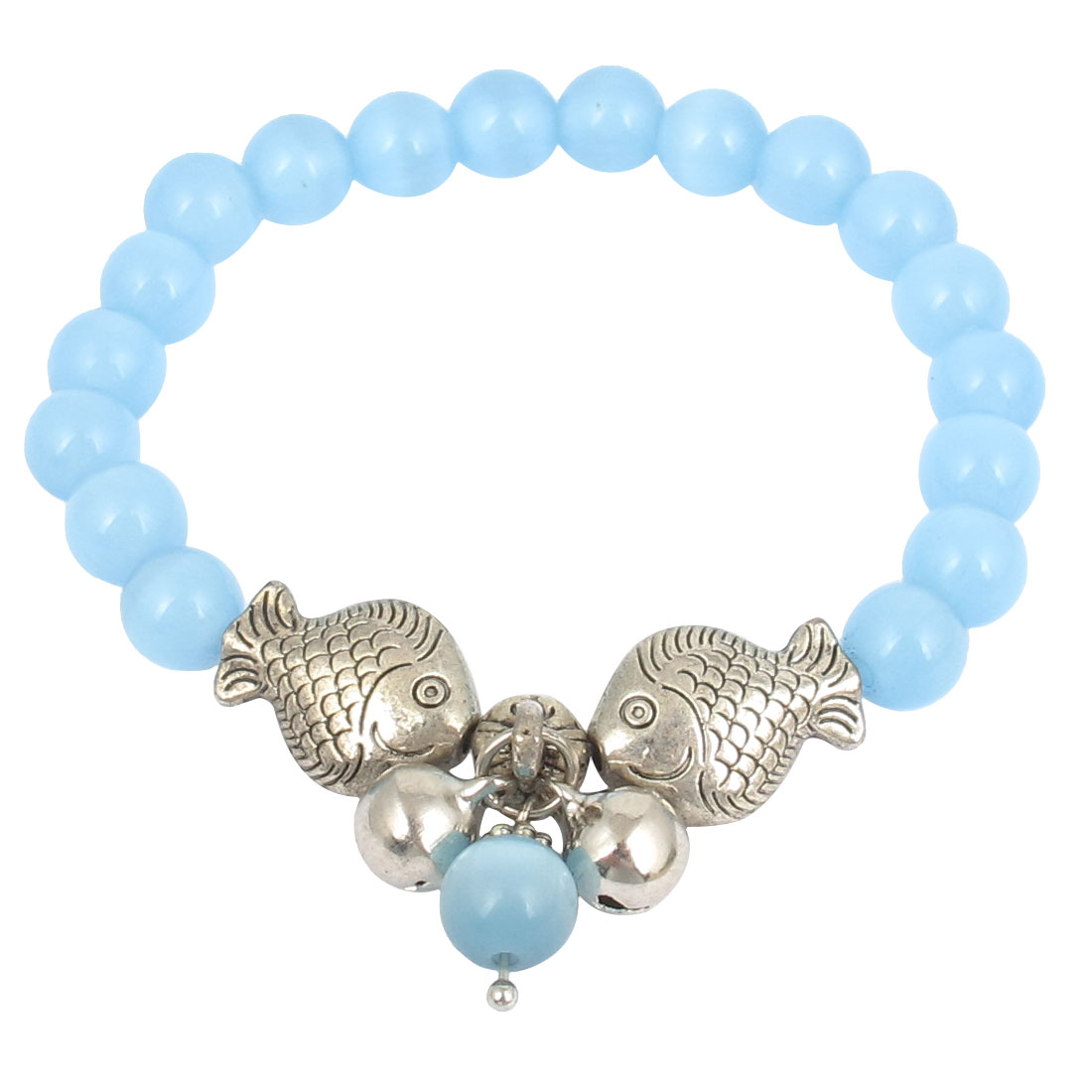 Fish Detail Round Opal Bead Wrist Ornament Bangle Bracelet Blue Silver Tone for Women