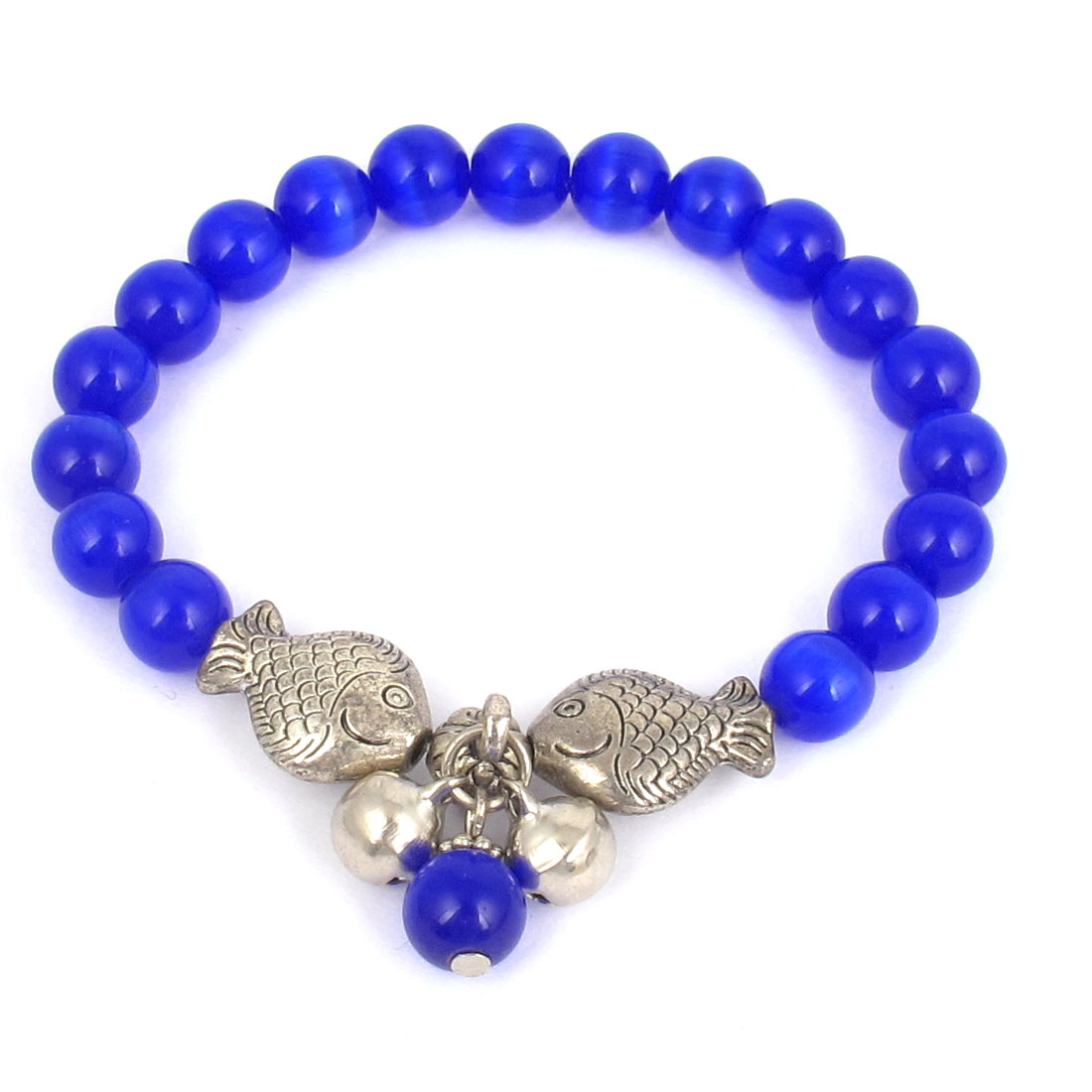 Fish Detail Round Opal Bead Wrist Ornament Bangle Bracelet Dark Blue Silver Tone for Women