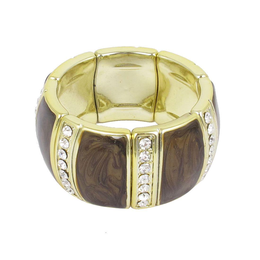 Lady Plastic Rhinestone Decor Elastic Wrist Ornament Bracelet Bangle Chocolate Color