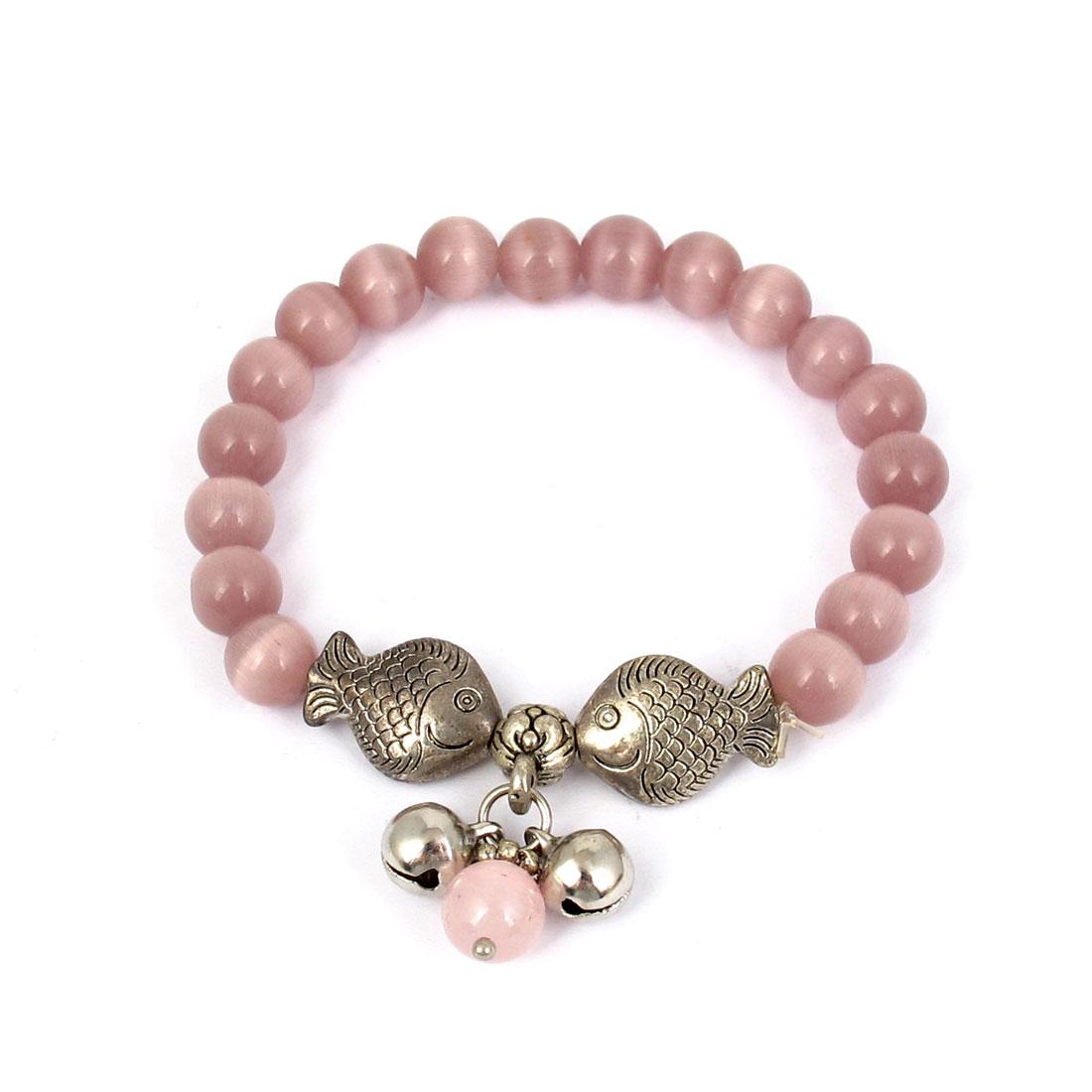 Fish Detail Round Opal Bead Wrist Ornament Bangle Bracelet Light Purple Silver Tone for Women
