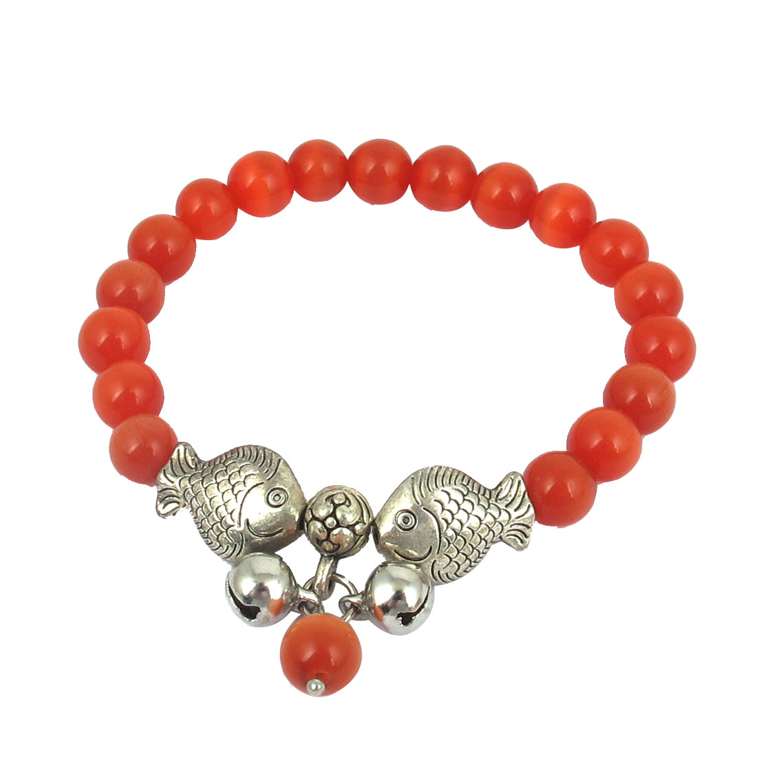 Fish Detail Round Opal Bead Wrist Ornament Bangle Bracelet Brick Red Silver Tone for Women