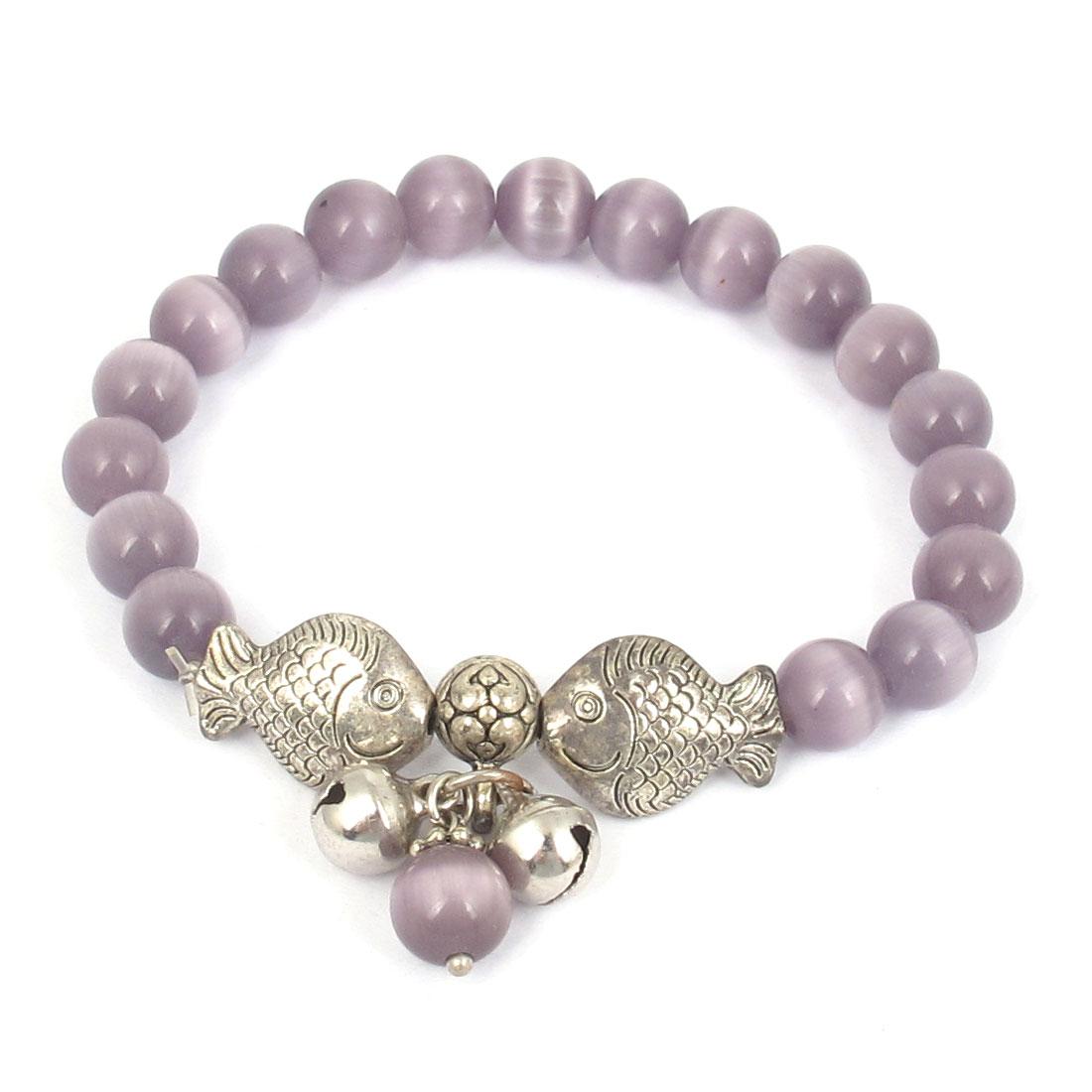Fish Detail Round Opal Bead Wrist Ornament Bangle Bracelet Medium Purple Silver Tone for Women
