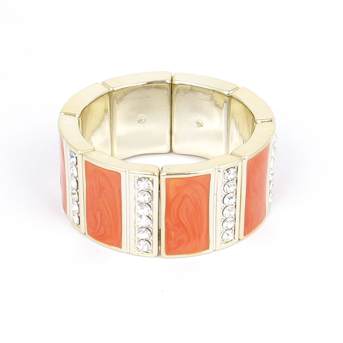 Women Plastic Rhinestone Detailing Stretchy Wrist Decor Bangle Bracelet Orange