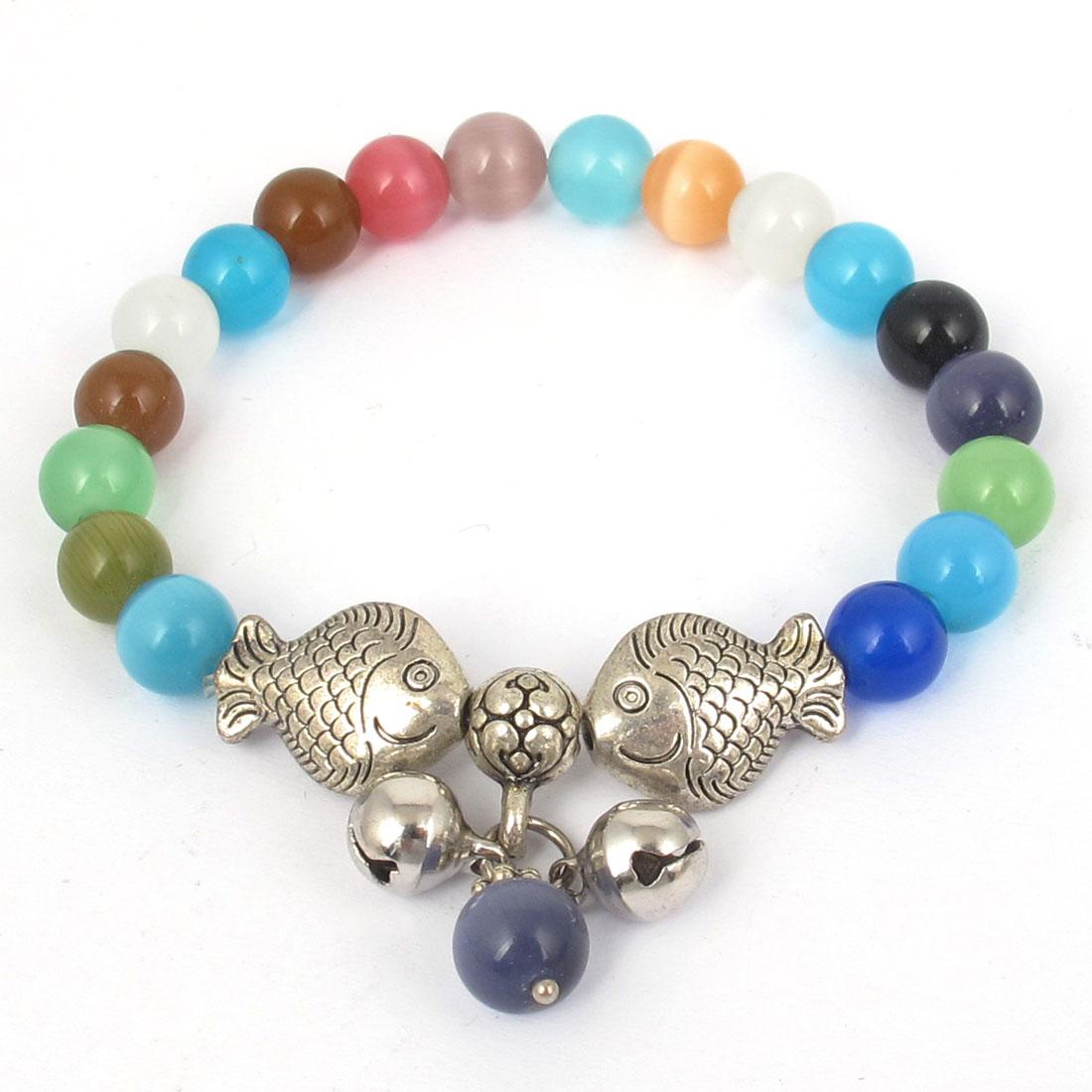 Fish Detailing Round Opal Bead Wrist Decor Bangle Bracelet Multicolor for Lady