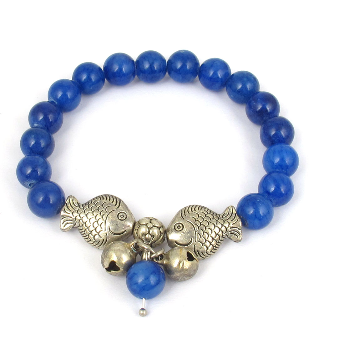 Fish Detail Round Opal Bead Wrist Ornament Bangle Bracelet Navy Blue Silver Tone for Women