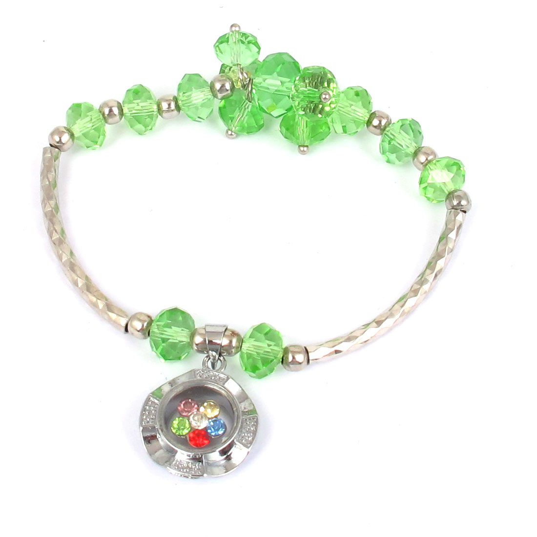 Plastic Faux Faceted Crystal Beads Lucky Pendant Elastic Wrist Ornament Bangle Bracelet Green