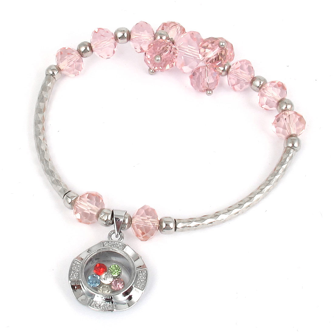 Plastic Faux Faceted Crystal Beads Lucky Pendant Elastic Wrist Ornament Bangle Bracelet Pink
