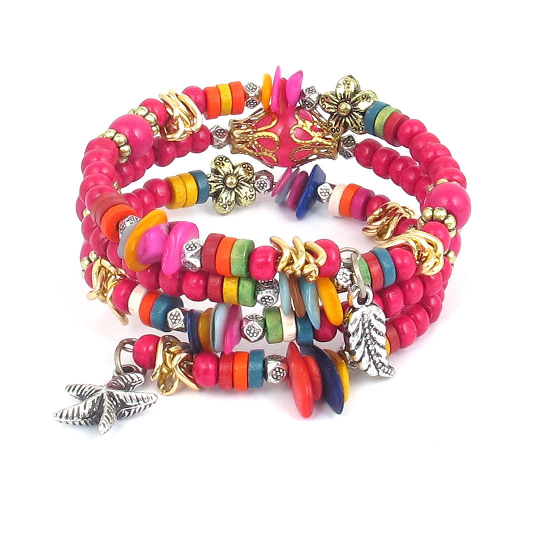 Women Manmade Wood Round Beads Pentacle Leaf Decor 3-layer Wrist Ornament Bangle Bracelet Fuchsia