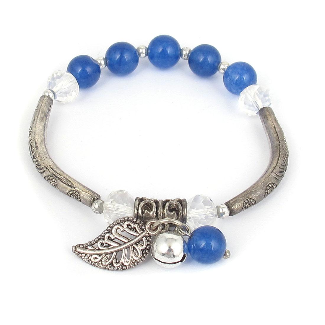 Jewelry Beads Stretchy Wrist Decor Bangle Bracelet Dark Blue Silver Tone for Lady