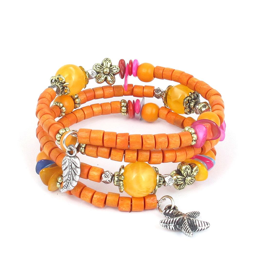 Women Handmade National Style Wooden Cylinder Beads Flower Decor 3-layer Bangle Bracelet Orange