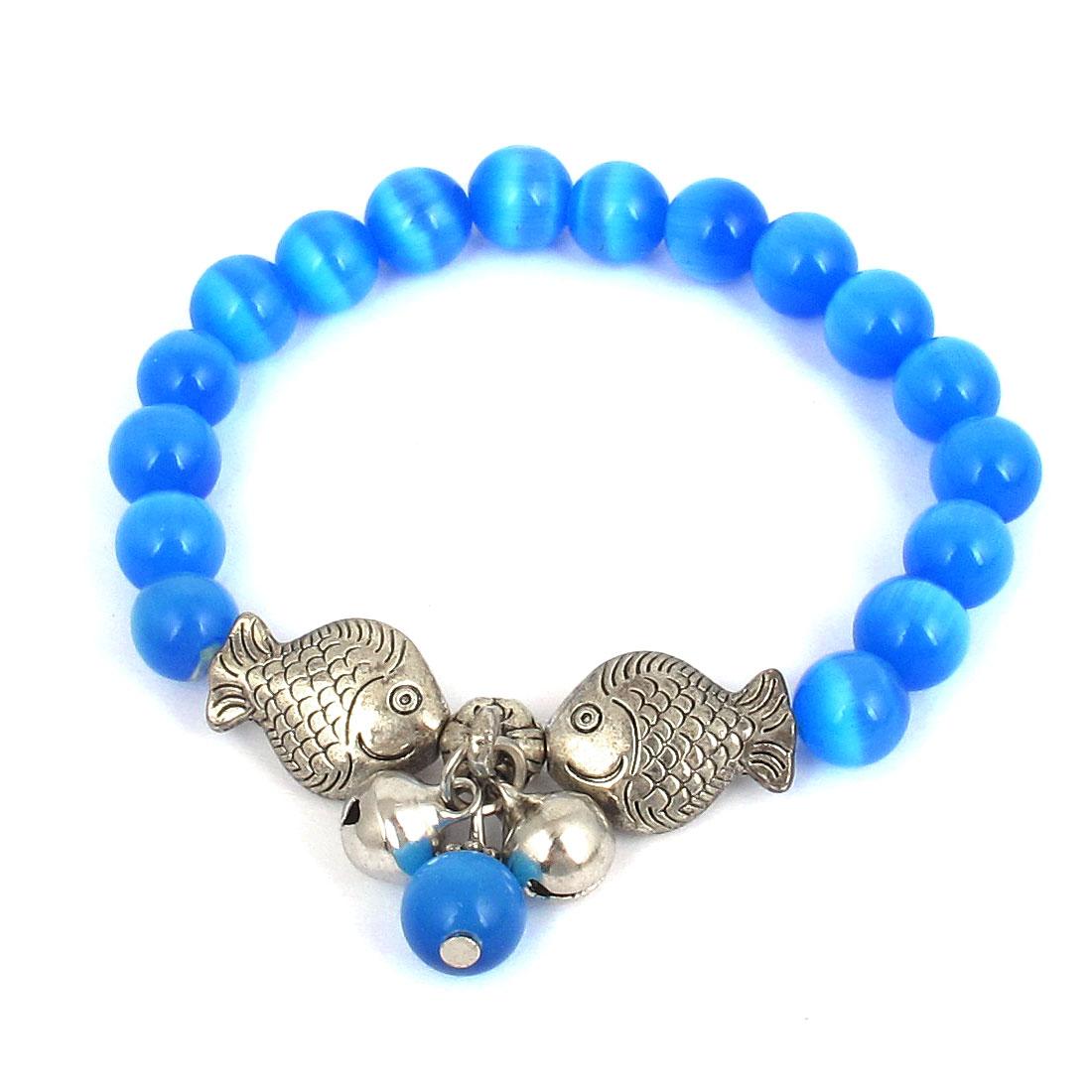Fish Detail Round Opal Bead Wrist Ornament Bangle Bracelet Medium Blue Silver Tone for Women