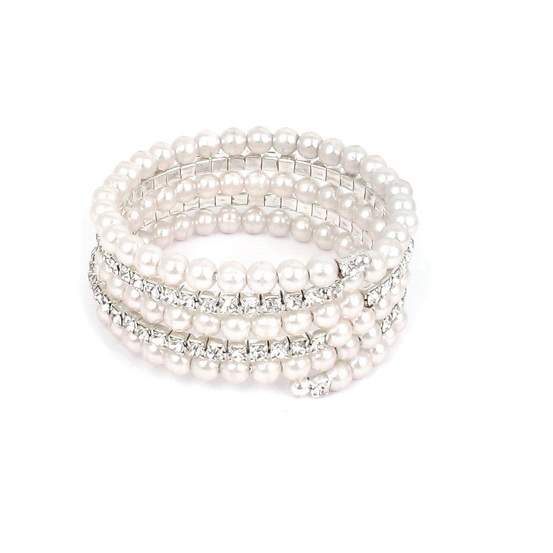 Sliver Tone Rhinestone Inlaid White Faux Pear Detailing Elastic Bracelet Wrist Bangle for Lady