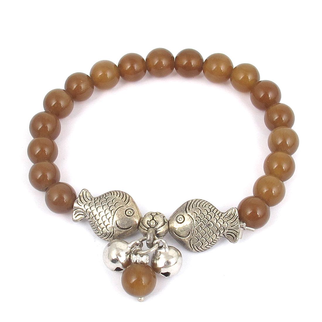 Fish Detail Round Opal Bead Wrist Ornament Bangle Bracelet Brown Silver Tone for Women
