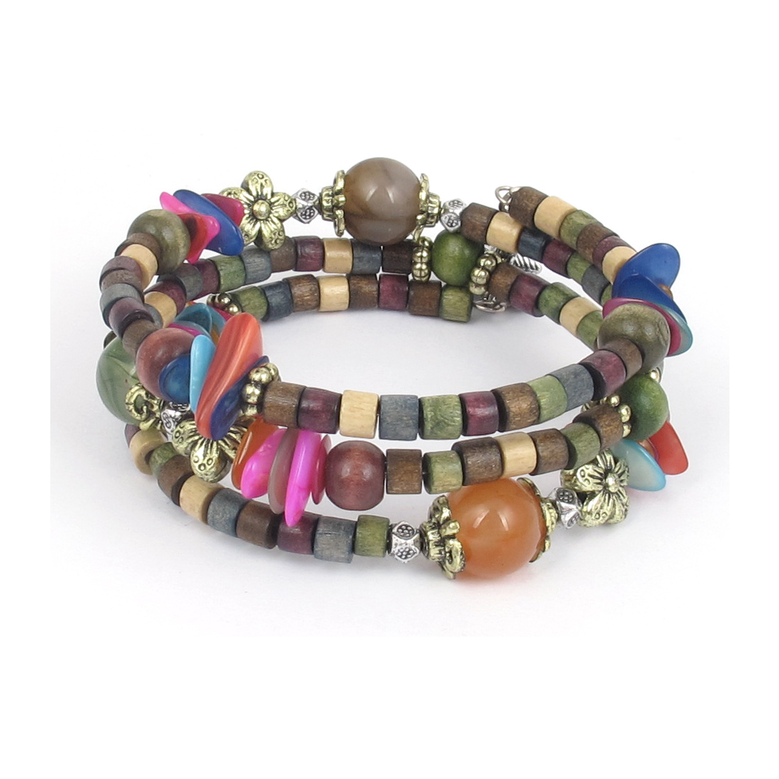 Women Handmade National Flavor Wooden Cylinder Beads Flower Decor 3-layer Bangle Bracelet Multicolor