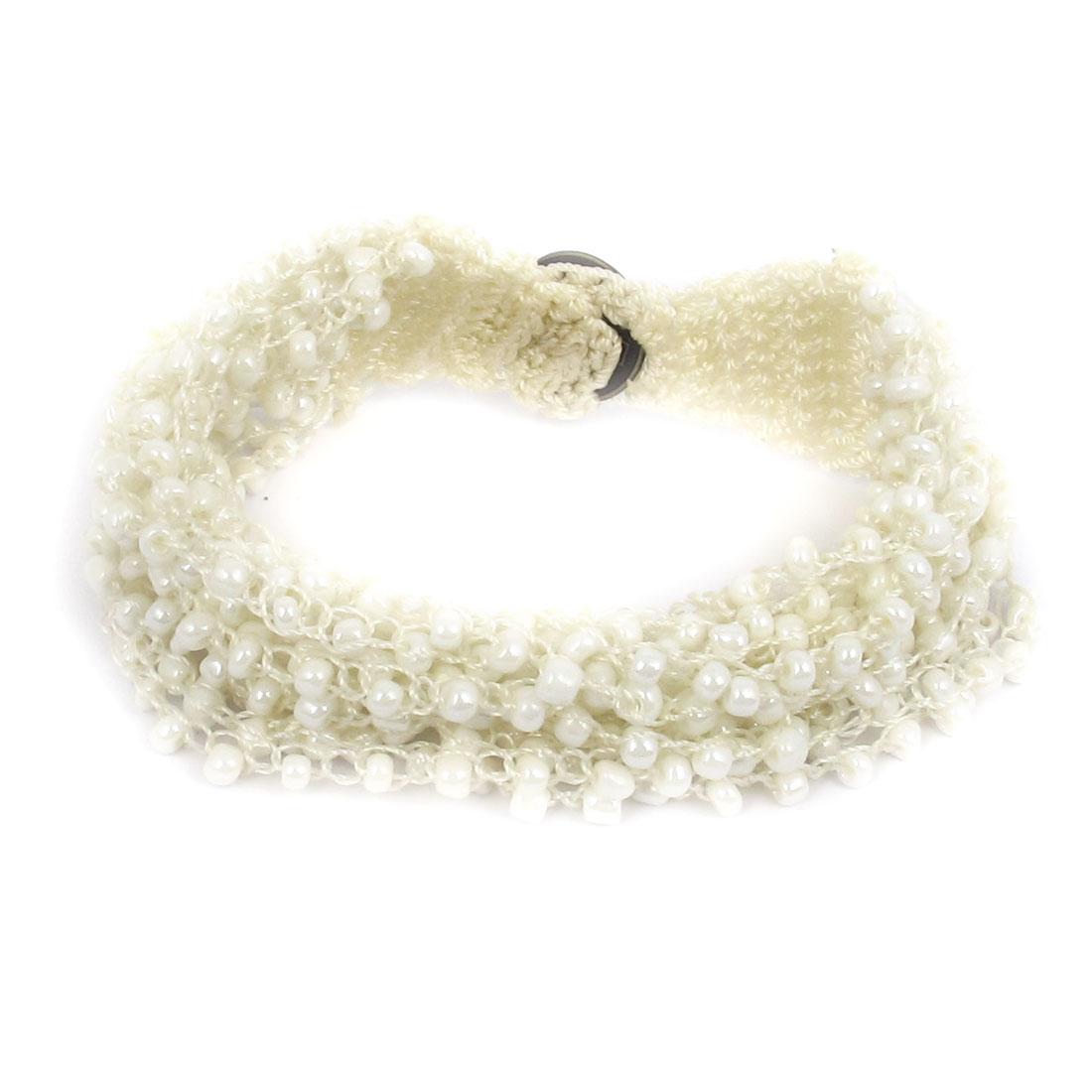 Women National Style Plastic Beaded Multi-layer Buttoned Bangle Bracelet Beige