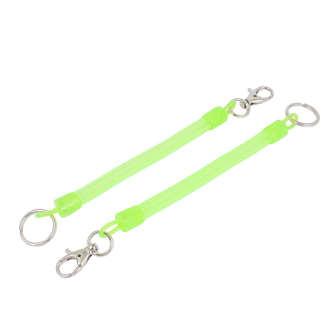 2 Pcs Lobster Clasp Stretchy Sprial Spring Coil Cord Keychain Strap Key Holder Yellow Green