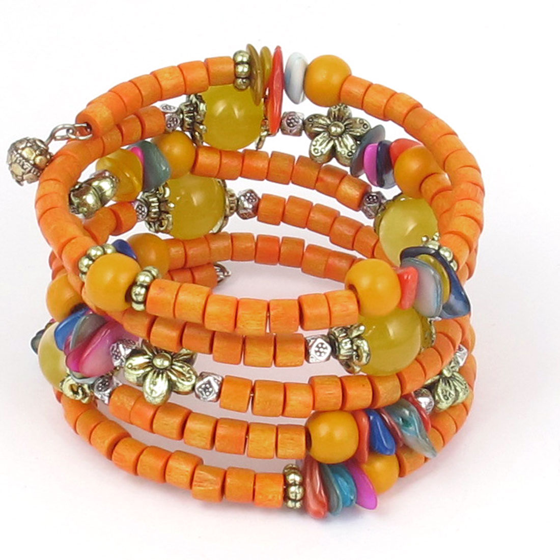 Flower Decor National Style Handmade Cylinder Wooden Beads Multi-layer Wrist Bangle Bracelet Orange