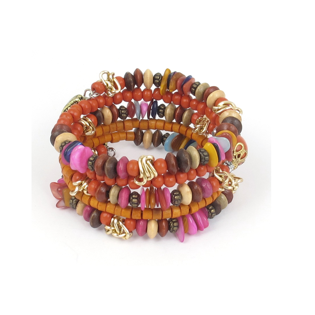 Women National Fashion Handmade Round Cylinder Wooden Beads Multi-layer Wrist Decor Bangle Bracelet Orange Bronze Tone