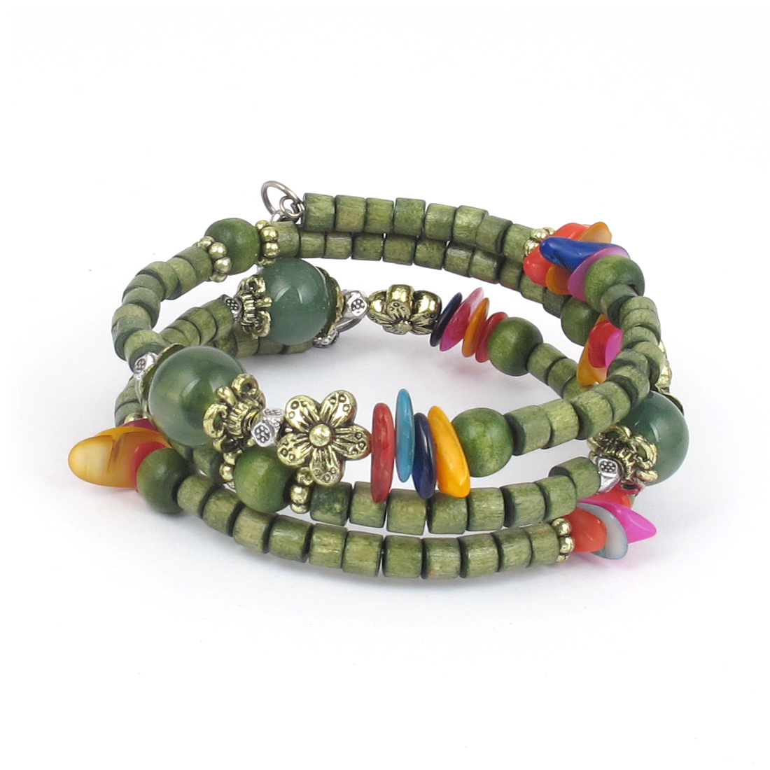 Women Handmade National Style Wooden Cylinder Beads Flower Decor 3-layer Bangle Bracelet Green