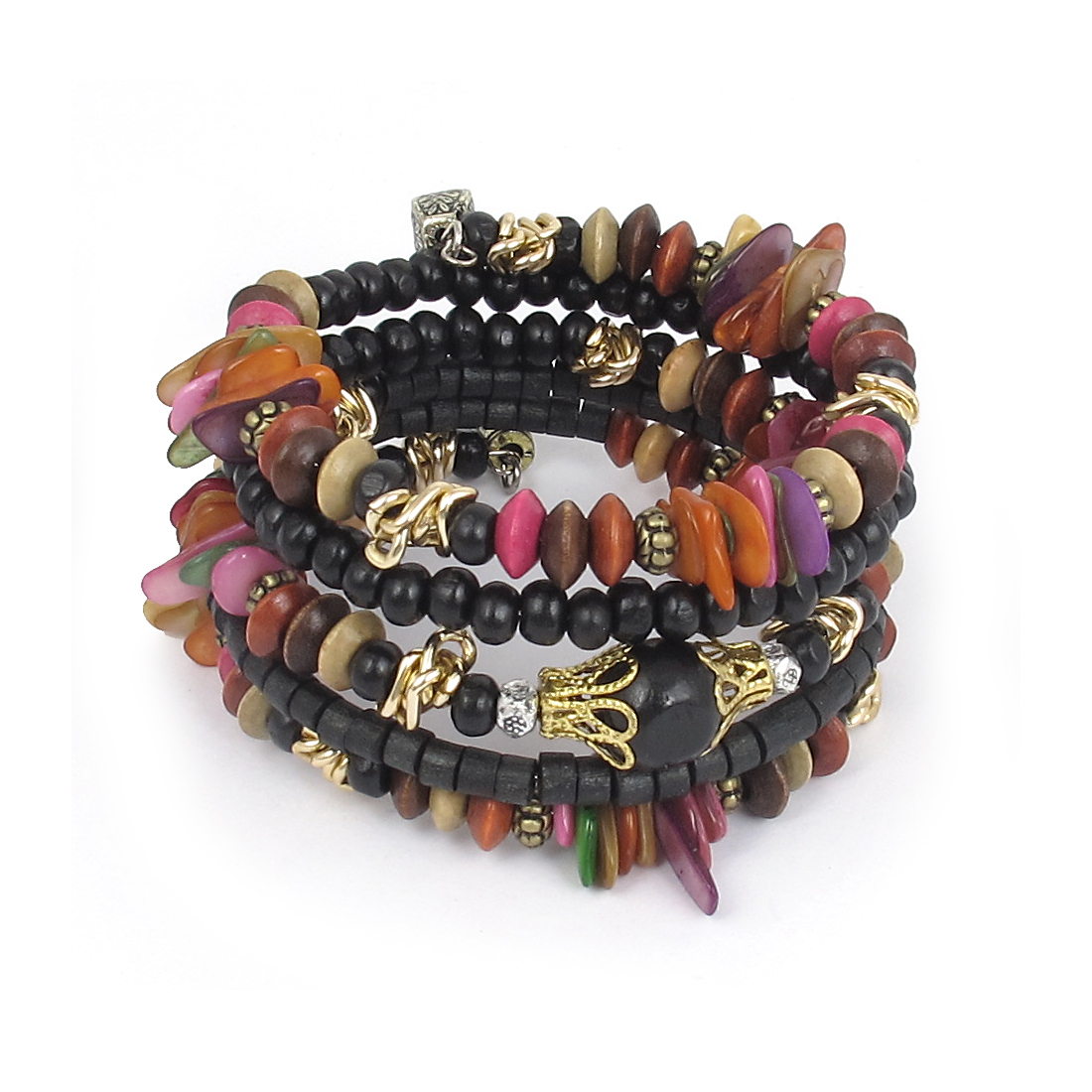 Lady National Fashion Manmade Round Cylinder Wooden Beads Multi-layer Wrist Bangle Bracelet Black