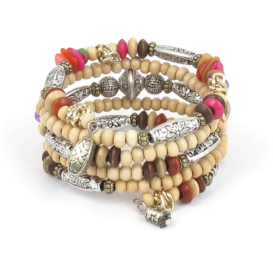 Lady National Style Handmade Wooden Beads Multi-layer Wrist Bangle Bracelet Beige