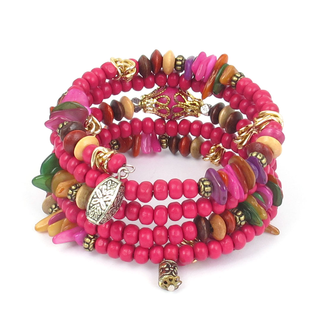 National Wind Manmade Round Wooden Beads Multilayer Wrist Ornament Bangle Bracelet Fuchsia for Lady