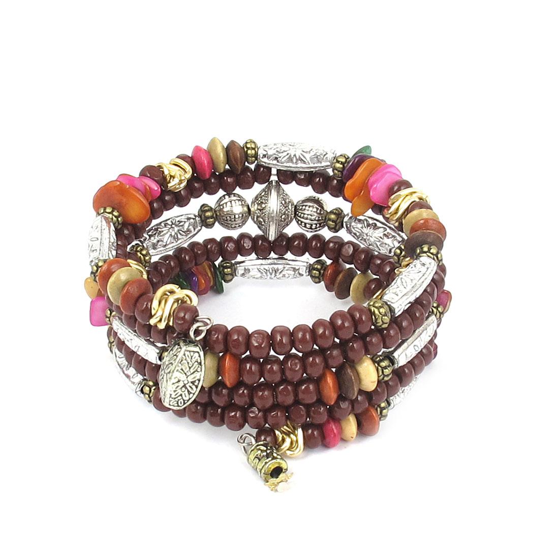 Lady National Style Handmade Wooden Beads Multi-layer Wrist Bangle Bracelet Bergundy Silver Tone