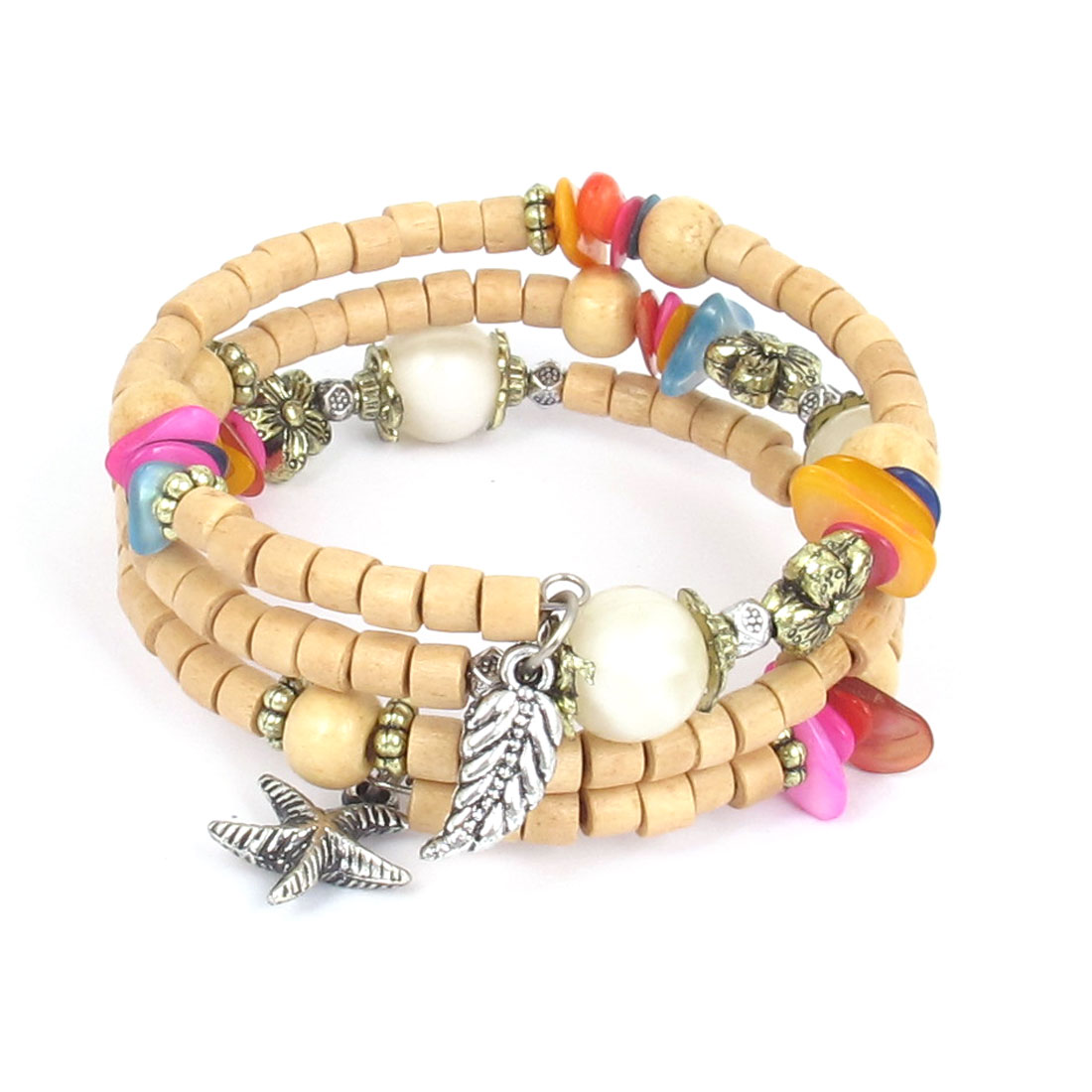 Women Handmade National Style Wooden Cylinder Beads Flower Decor 3-layer Bangle Bracelet Beige