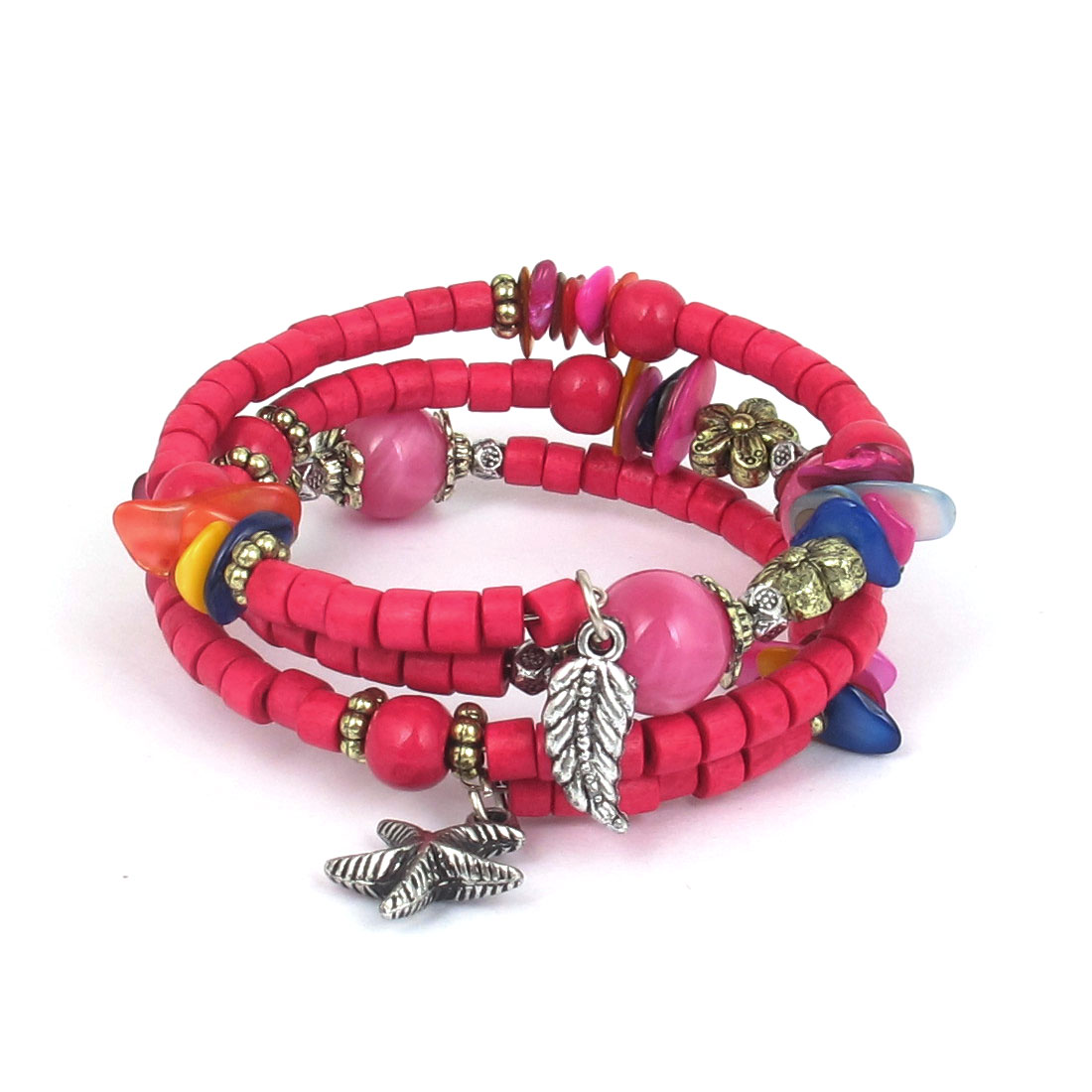 Women Handmade National Style Wooden Cylinder Beads Flower Decor 3-layer Bangle Bracelet Fuchsia