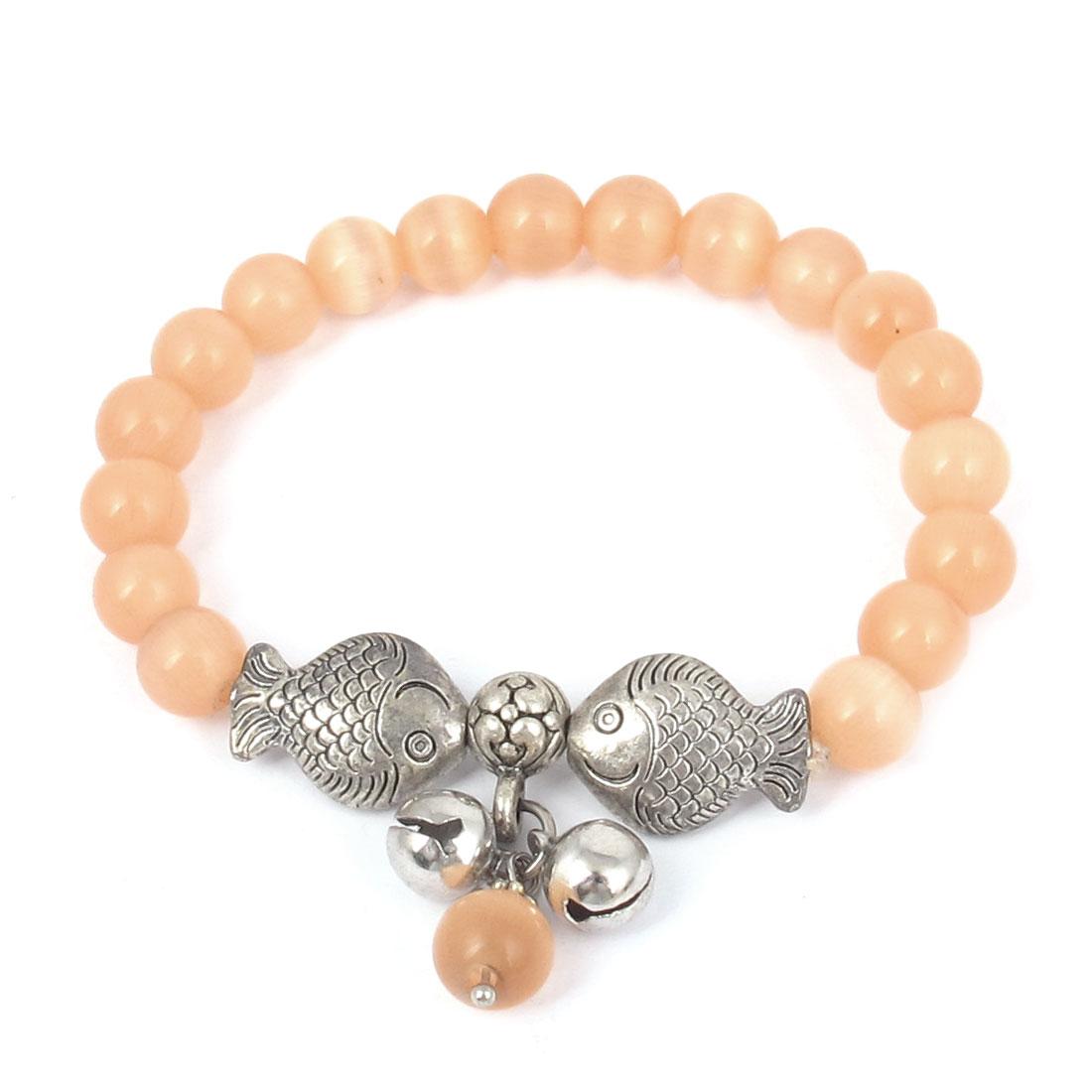 Fish Detail Round Opal Bead Wrist Ornament Bangle Bracelet Light Orange Silver Tone for Women