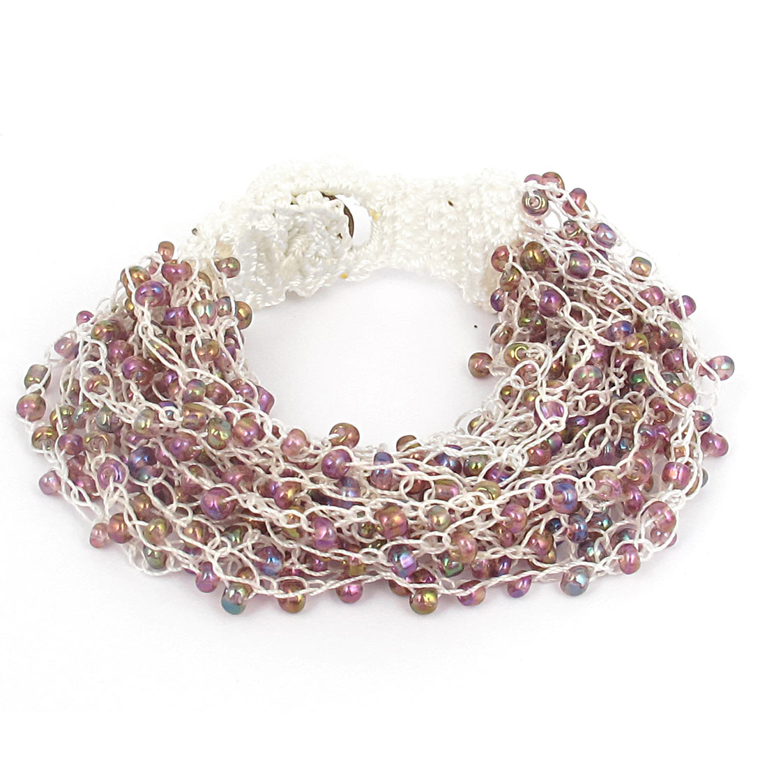 Women National Style Plastic Beaded Multi-layer Buttoned Bangle Bracelet Purple