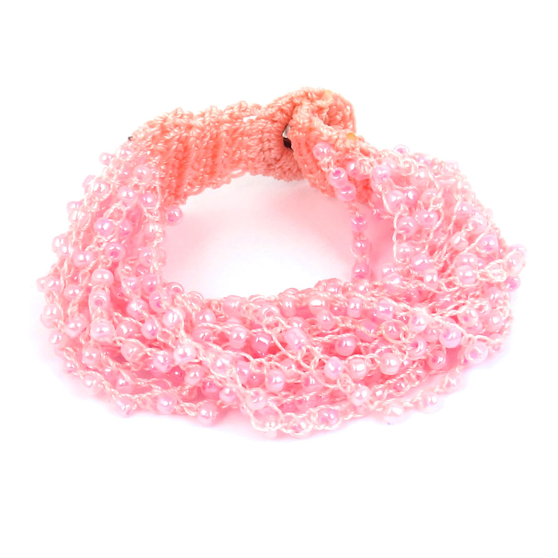 Women National Style Plastic Beaded Multi-layer Buttoned Bangle Bracelet Pink