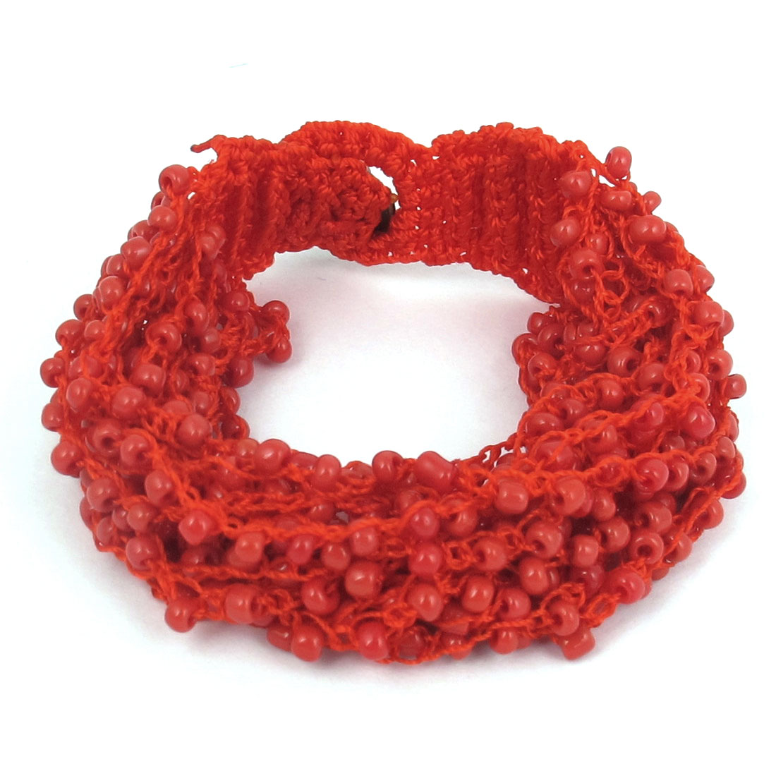 Women National Style Plastic Beaded Multi-layer Buttoned Bangle Bracelet Red