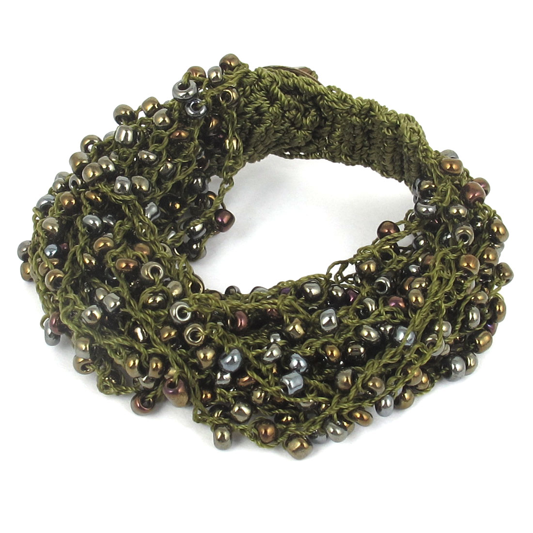 Women National Style Plastic Beaded Multi-layer Buttoned Bangle Bracelet Olive Green