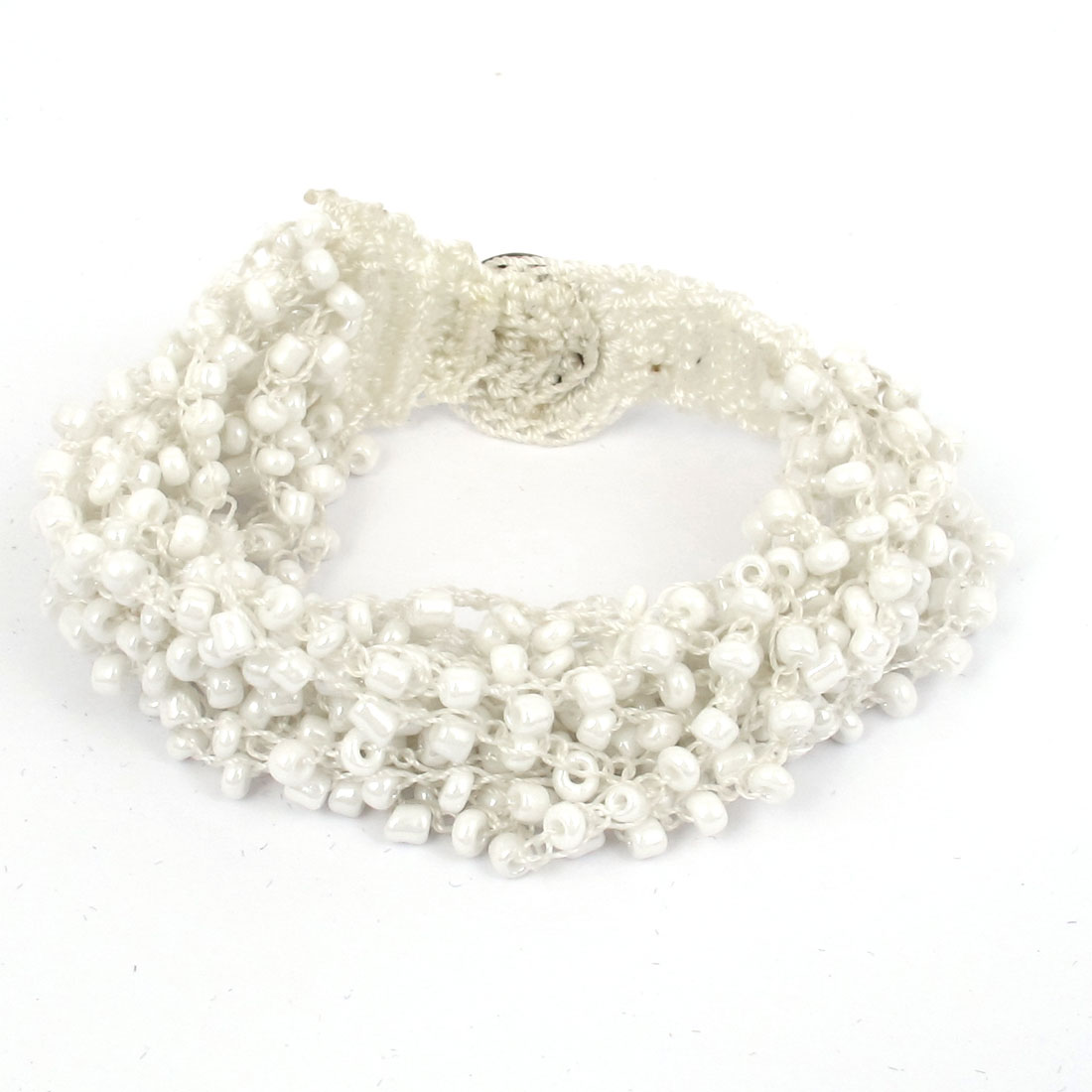 Women National Style Plastic Beaded Multi-layer Buttoned Bangle Bracelet White