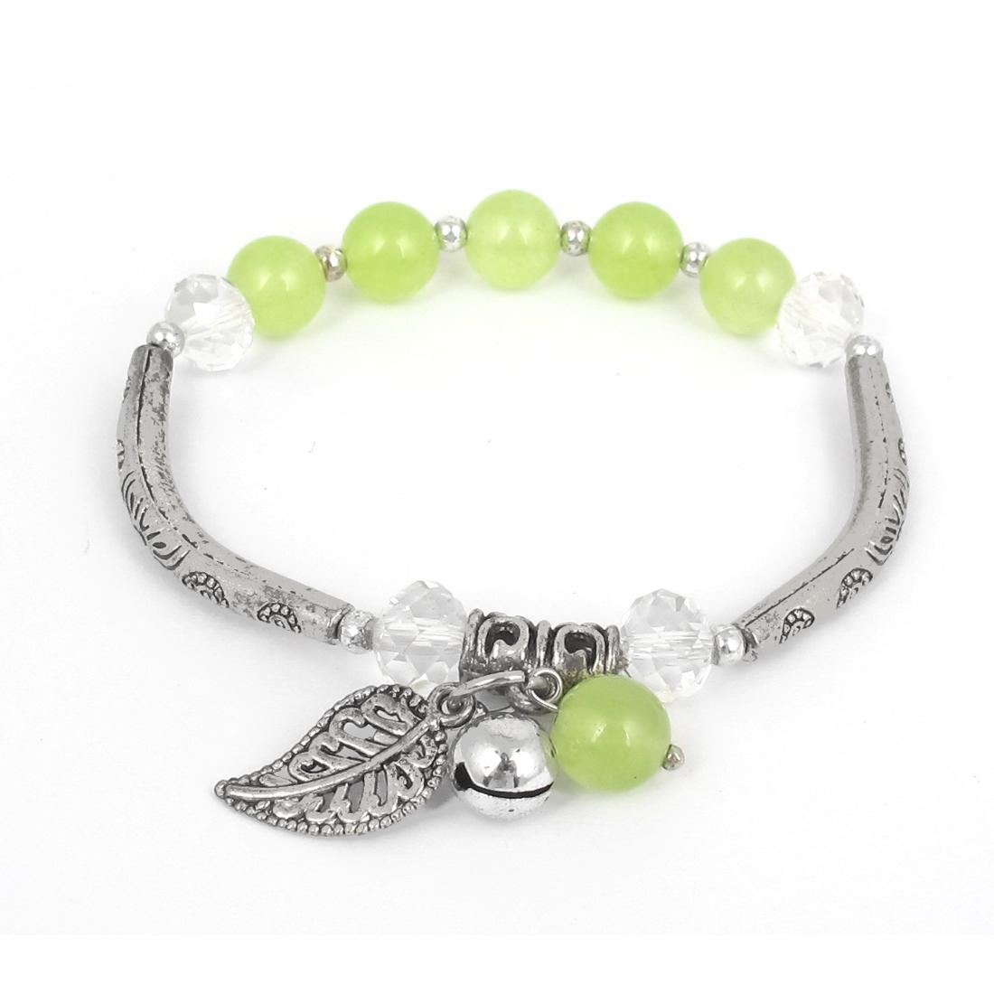 Jewelry Beads Stretchy Wrist Decor Bangle Bracelet Yellow Green for Lady