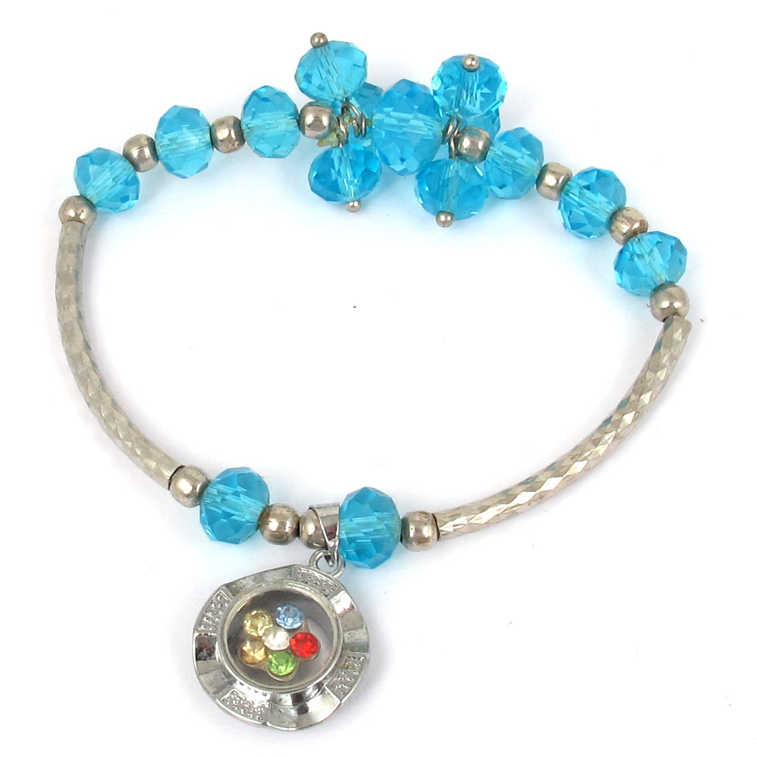 Plastic Faux Faceted Crystal Beads Lucky Pendant Elastic Wrist Ornament Bangle Bracelet Sky Blue
