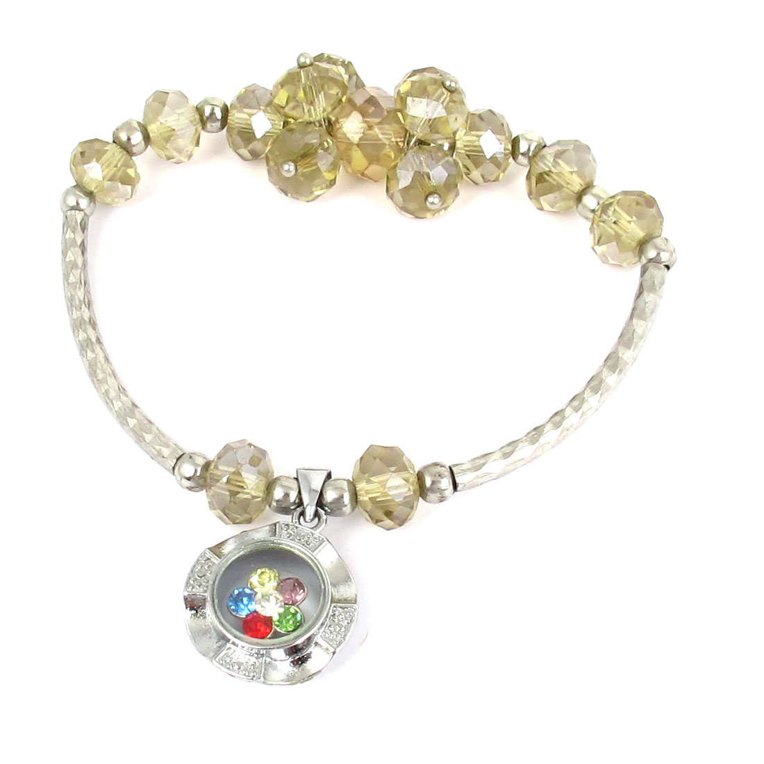 Plastic Faux Faceted Crystal Beads Lucky Pendant Elastic Wrist Ornament Bangle Bracelet Champagne
