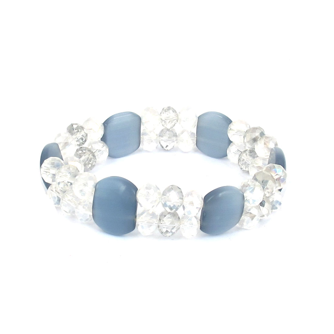 Faceted Faux Crystal Opal Beads Decor Elastic Wrist Bangle Bracelet Blue Clear for Lady